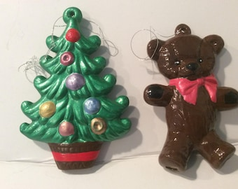Ceramic Christmas Ornaments, Teddy Bear Ornament, Christmas Tree Ornament, Green Ornament