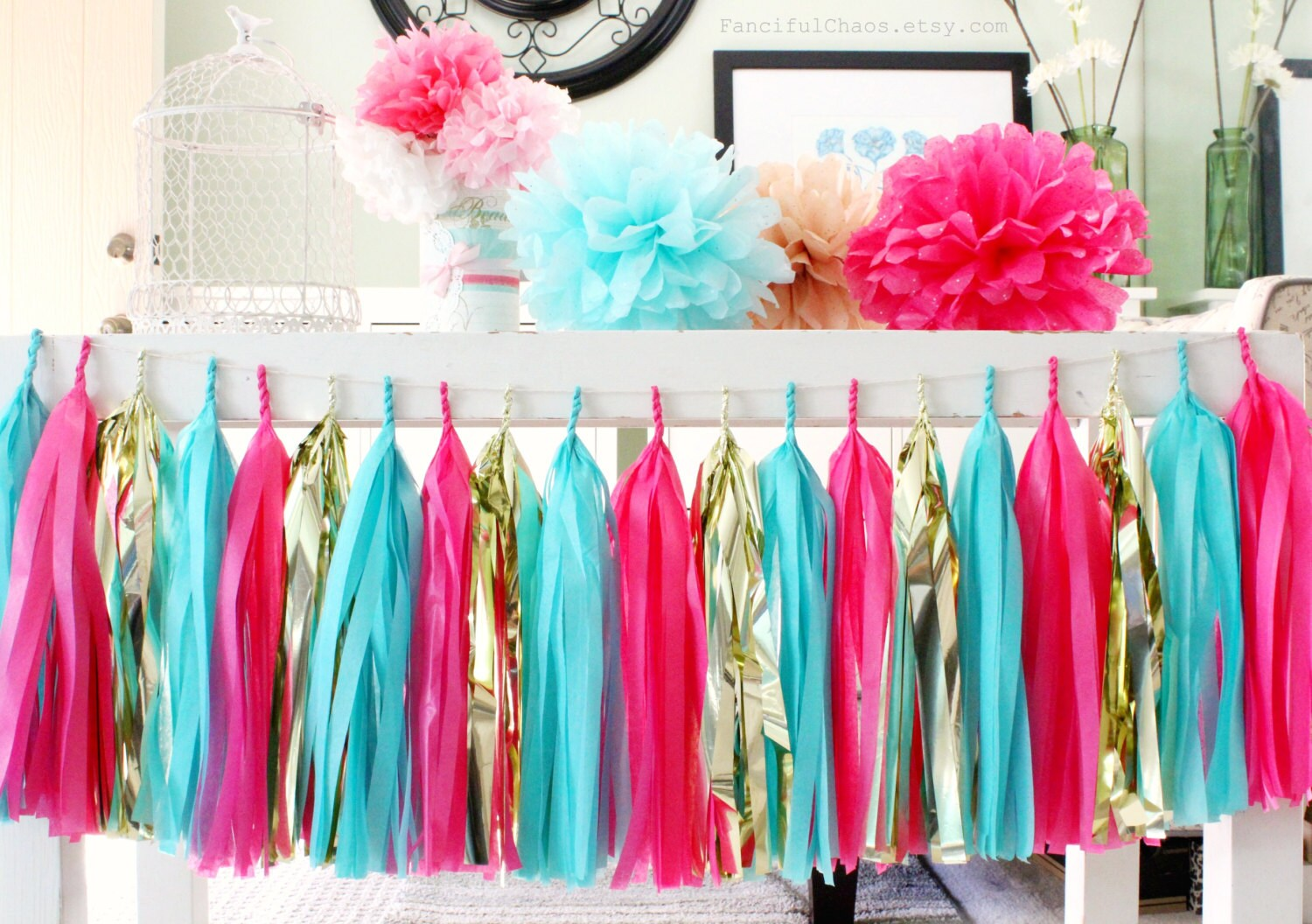 Turquoise Hot Pink Gold Tissue Paper Tassel Garland