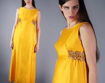 50s Beaded Sequin Gown Vintage Marigold Yellow Maxi Dress Couture Empire Waist Formal Gown Size Medium