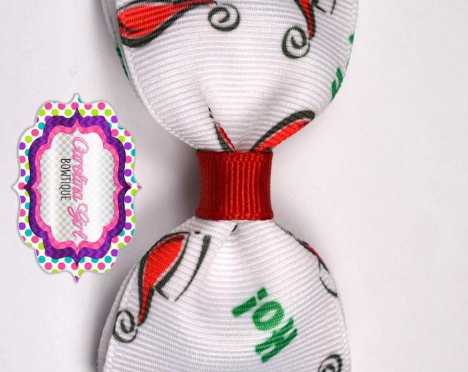 "Christmas Santa Hats Tuxedo Bow ~ 3.5"" Hairbow ~ Small Hair Bow ~ Girls Barrette ~ Toddler Bow ~ Baby Hair Bow ~ Hair Clip ~ Girls Hair Bow"