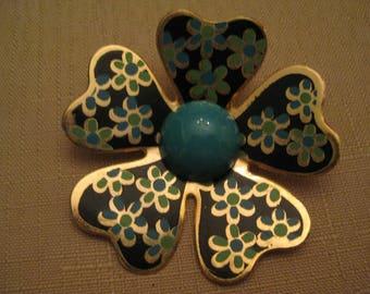 HUGE ENAMEL FLOWER Brooch 2 Tone Blue Enamel Gold Tone Metal 3 D Dogwood Flower Brooch 2 & 5/8 Inches Vintage 1960s