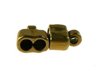 Metal ZAMAK (13x15mm) finishing tip - for 2 leather circles, multi-cords (hole 5mm) - Bronze - EMBFMCR515VBR511