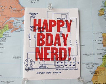Happy Birthday Nerd! -  Letterpress birthday card