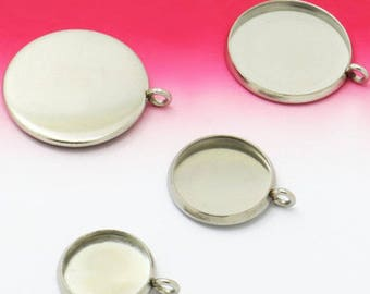 100 Pendant Trays Stainless Steel 8mm/ 10mm/ 12mm/ 14mm/ 16mm/ 18mm/ 20mm Round Bezel Setting W/ Ring Wholesale Pendant Base Mountings