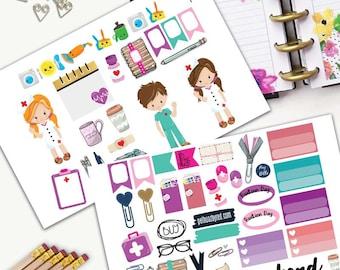 Nurse Theme Planner Weekly Sticker SMALL Kit, CLASSIC Happy Planner Sticker, Weekly Set, Stickers, Printed, Cut, International Nurse Day