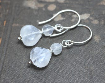 Moonstone Earrings Rustic Jewelry White Gemstone Earrings Silver Earrings