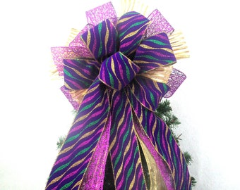 Purple Bow / Christmas Bow / Tree Topper Bow