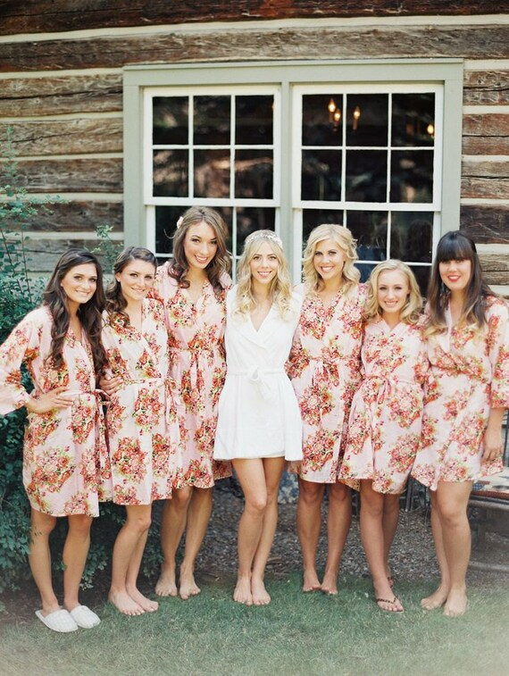 Shabby Chic Pink Bridesmaids Robes. Kimono Crossover Robe.
