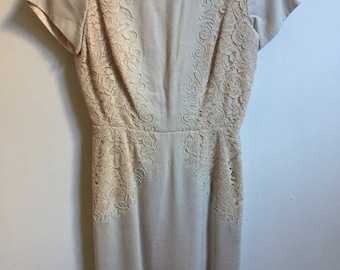 Vintage Henry Lee Cream Ivory Lace Dress // 1950s A Line Lace Applique Dress