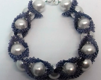 New Handmade Ladies Faux Pearl and Squares Bracelet