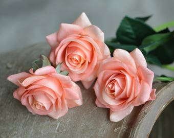 Dusty Blush Roses Pink Coral Roses DIY Silk Bridal Bouquets Wedding Centerpieces, Wedding Flowers