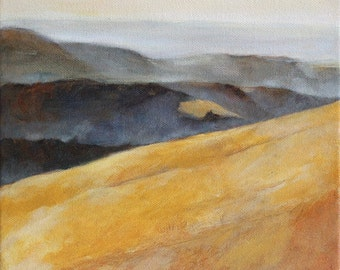 Landscape Painting of California Hills Print 6x6