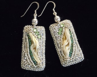 Bead Embroidered Drop Earrings, Wedding Jewelry, Bridal Earrings, Elegant Earrings