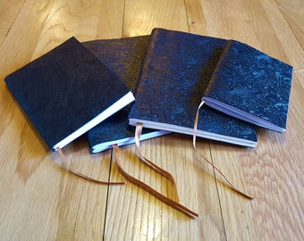 Luxury Embossed Black Leather Journals & Notebooks