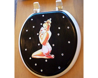 pin up girl toilet seat rockabilly vintage 1950's retro bathroom decor kitsch
