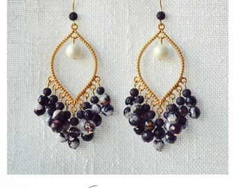 CGC031 - Gold boho luxe earrings with black-purple-grey-white agate stones, pearls and black lava stones.