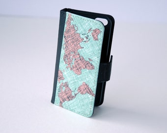 iPhone 7 World Map Wallet Case, iPhone Wallet Case iPhone 4, iPhone 5, iPhone 6, 8 plus, 6s, 6s Plus Case, Wallet, Samsung Galaxy S4, S5, S6