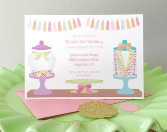 Candy shoppe invitation, candy land party, candy shop birthday, sweet shop birthday party, girls birthday party, 1st birthday party