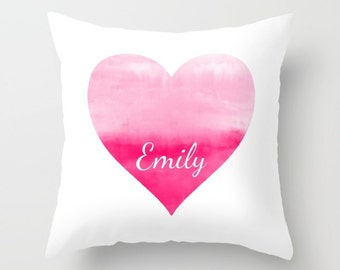 Pink Heart Pillow Cover, Personalized Girls Room Pillow Cover, Pink White
