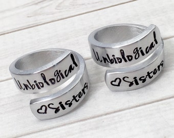 Best Friend Rings - Gift for Best Friend - Unbiological Sisters Rings - Matching Friendship Rings - Step Sister Rings - Set of 2