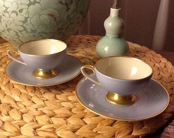 Vintage Pair of Plankenhammer Bavarian German Demitasse Bone China Teacups and Saucers Blue and Gold