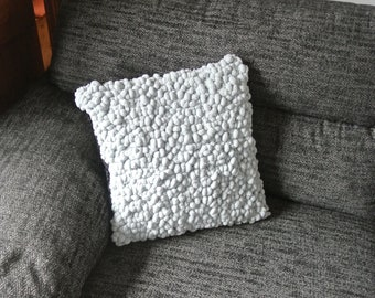 """Handknitted Bobble cushion in Grey. 17"""" Square"""