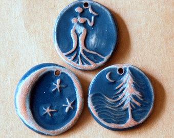 3 Beads in Rustic Midnight - Handmade Ceramic Pendants - Moon over Cedars, Moon, and Venus in Neutral Stoneware with Denim Glaze -