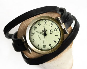 Wrist watch strap black leather strap several wrist strap