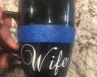 Thin blue line (police) Wife 12 oz mug