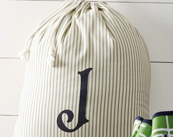 Monogrammed Laundry Bag, Red or Green Striped