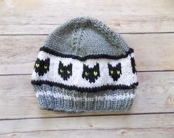 Halloween Knit Beanie, Baby Cat Hat, Knit Cat Beanie, Gray and Black