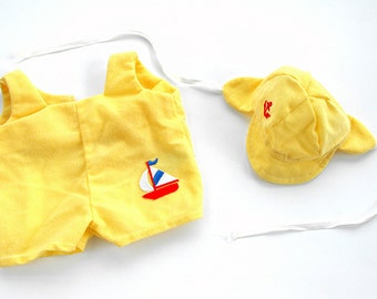 1980s Cabbage Patch Kids Sailor Romper - Vintage Yellow Corduroy Coleco Nautical Sailboat Anchor Baby Boy Outfit Retro CPK Toy Doll Clothing