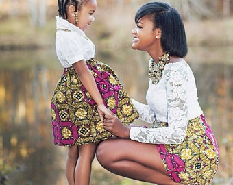 African skirts, Mommy and me outfits, Mother and daughter African skirts, Baby skirts, Mommy and me African skirts, Mommy and Me clothes