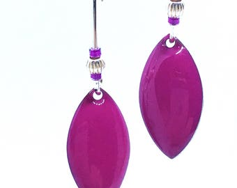 Hot pink sequin earrings