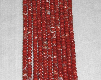 Agate, Red Agate, Dyed Red Agate, Agate Rondelle, Faceted Rondelle, Natural Agate, Strand, Spacer, 7.5-8mm, Rondelle Bead, AdrianasBeads