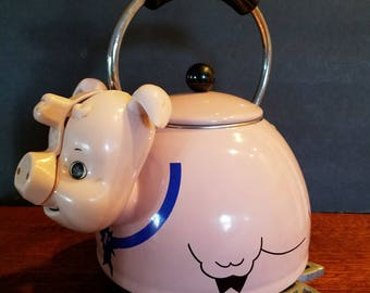 Rare Vintage Pork-Tea-Pig Enamel Tea Kettle -Adorable Pink Pig Tea Kettle by Kamenstein With Original Box- America's Number One Pork Chop