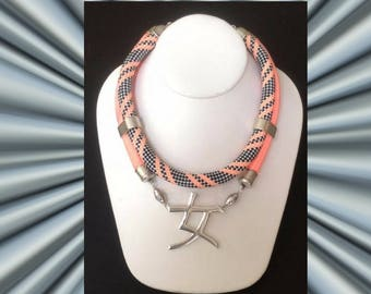 Silver WOMAN Pendant with Double Cord Necklace: Coral & Herringbone