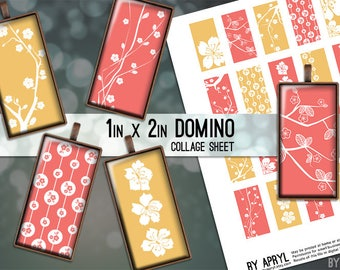Cherry Blossoms Coral Yellow Flowers 1x2 Domino Collage Sheet Digital Images for Domino Pendants Magnets Scrapbooking JPG D0038