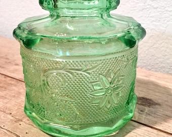 Vintage Green Chantilly Tiara Indiana Glass Jar With Lid 1970 Era
