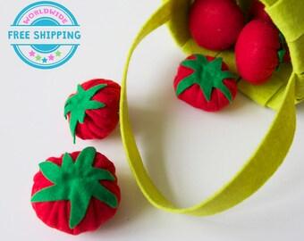 Felt Vegetables / Felt tomatoes / Felt Play Food set / Pretend Play / Kids garden set / Play Kitchen food