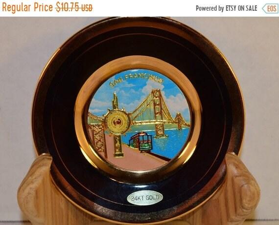 Delayed Shipping Chokin Plate San Francisco Souvenir Vintage Japanese Art 24K Gold Plate Fishermans Wharf Trolley Golden Gate Bridge Plate S