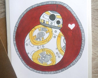 Zentangle BB8 I Love You Greeting Card