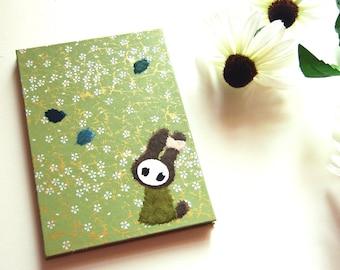 "Accordion Photo Album ""Bunny"" Chiyogami Sakura on light green"