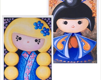 Japanese Kokeshi Doll Greetings Cards - Pack of two doll cards - Oriental Doll design Birthday Card - Original Artwork large blank cards