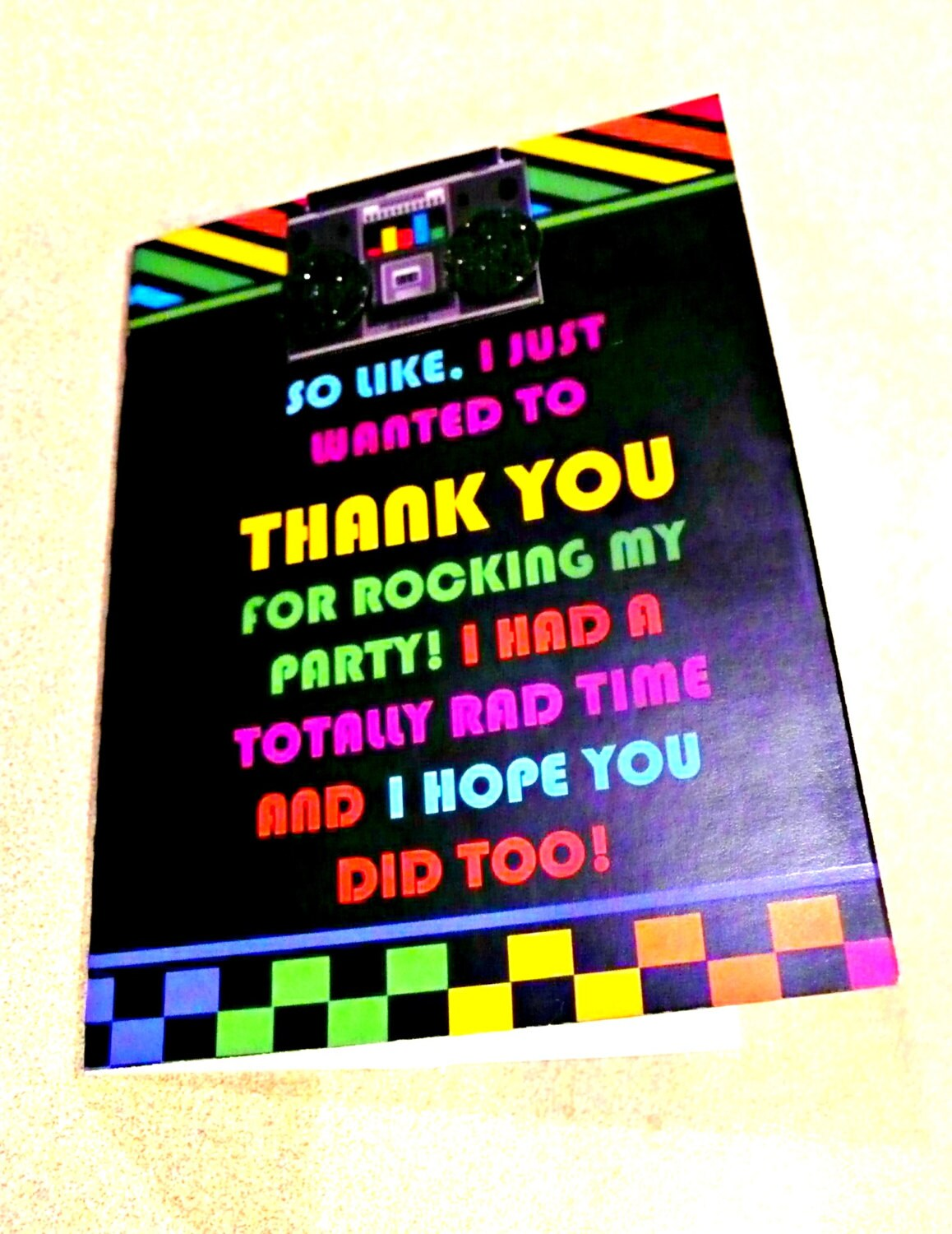 80s Theme Thank You Card 80s Party Thank You Note 80s theme