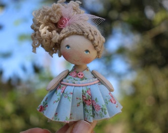 Fun gift for your mom dollhouse miniature fabric doll, cloth art collectible pocket doll, Miniaturpuppe