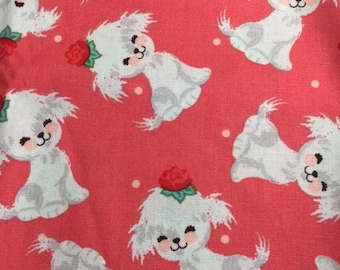 Bichon Puppy Fabric | White Adorable Puppies on Coral Fabric | 9 x 44""