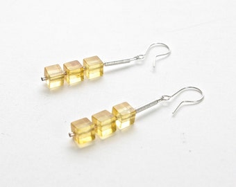 yellow amber and silver cube earrings