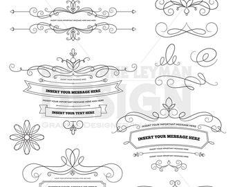 DIY Invitation Clipart, Digital Labels Clipart, Design Elements, Flourish, Commercial Use, Digital Download Art, Vector Graphics