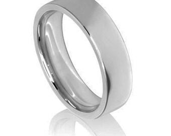 Pianura Platinum Wedding Band / Ring - The Court piatto con profilo bordo piatto. Disponibile a luce, medio e pesante peso e tutte le taglie.